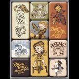 Magnet Set. - Betty Boop Vintage Motorcycle Club / Biker Betty