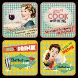 Nostalgie Blechuntersetzer - Say It 50`s Drink & Wine
