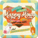 Nostalgie Blechuntersetzer - Happy Hour