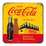 Nostalgie Blechuntersetzer - Coca Cola / In the Botles yellow