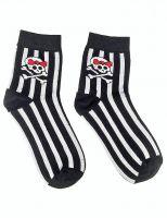 Socken - Gestreifte Girly Totenkopf Socken