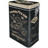 Blech Verschluss Vorratsdose - Goodyear / Motorcycle