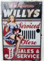 Retro Blechschild - Willys Sales & Service