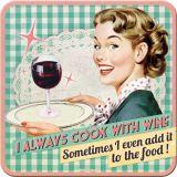 Nostalgie Blechuntersetzer - Cook with Wine