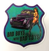 Pin up Sticker - Bad Boys with bad toys / klein