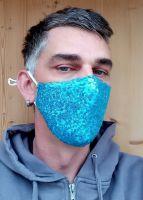 Stoff Maske - Blaue Pailletten mit Filter
