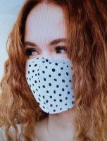 Stoff Maske - Weiss / schwarze Punkte mit Filter