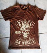 King Kerosin Button Slub Jersey T-Shirt - Rebel on Wheels / braun
