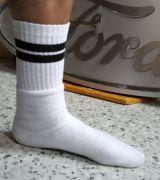 Socken - Weiss / schwarze Streifen