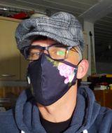 Stoff Maske - Blumen / schwarz mit Filter