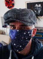Stoff Maske - Sterne / schwarz-blau mit Filter