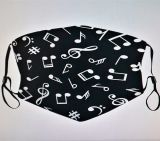 Cotton Mask - Music notes / black with filter