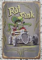 Retro Blechschild - Rat Fink / Hot Rod