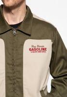 Gabardine Jacke im Vintage Look - Motorway Oils / Olive-beige