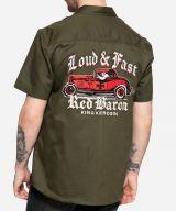 KING KEROSIN Worker Shirt - Red Baron / Olive - Limited