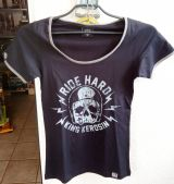 Queen Kerosin Girls Contrast T-Shirt - Ride Hard / schwarz-grau