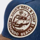 Trucker Cap mit Cord-Schirm von King Kerosin - Rock`n`Roll & Surf Redondo Beach / Blau - braun